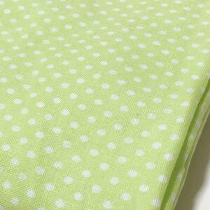 ダブルガーゼ生地 ドット柄 水玉 黄緑 グリーン