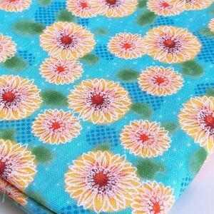 ダブルガーゼ生地 夏 花柄 ひまわり 向日葵 ブルー イエロー