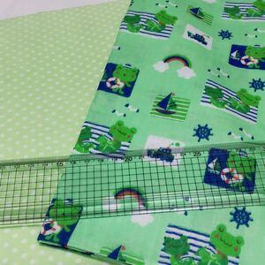 ダブルガーゼ生地 ドット柄 水玉 グリーン 黄緑 カエル 蛙 アニマル