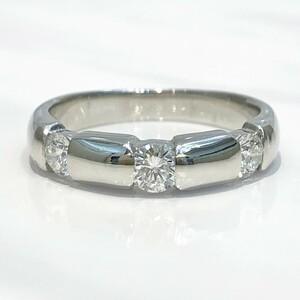 【中古美品】Pt900 ダイヤ ファッションリング 指輪 D 0.501ct 11号