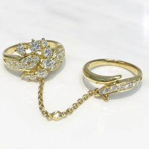 【中古美品】クィーンジュエリー Queen Jewelry K18 ダイヤ ファッションリング D1.06ct D0.14ct