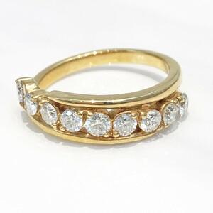 【中古美品】K18PG ダイヤ ファッションリング D 0.75ct 12号 4.1g 指輪