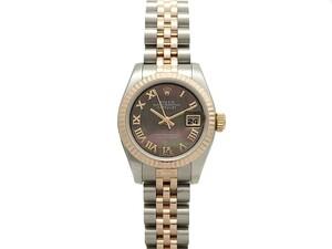 ロレックス ROLEX デイトジャスト 179171NR レディース 腕時計 自動巻 ランダム番 ブラックシェルローマン 文字盤 仕上げ済