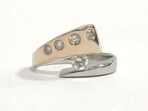 【中古美品】Pt900 K18PG ダイヤ 0.50ct デザイン リング 指輪