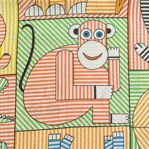 動物柄 はぎれ USEDシーツ 70's レトロ リメイク アメリカン 雑貨 コレクター アンティーク ハンドメイド 入学入園準備 子供服 アニマル
