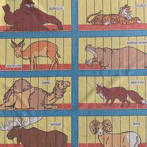 80's 動物園柄 アメリカン雑貨 USED ボックスシーツ ヴィンテージ リメイク コレクター ハンドメイド 手作り 生地 パッチワーク アニマル