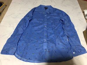 GAP ギャップ シャツ 長袖 ブルー系カラー トップス シンプルデザイン 着心地良い コットン 100% Sサイズ【アウトレット】Q8