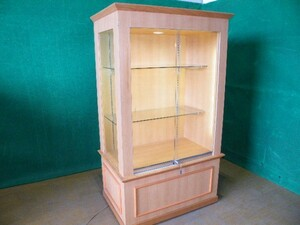 W100cm ウッド製ガラスのショーケース 照明付き・カギ付き■O-362