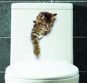 h216 3D 猫壁紙装飾浴室トイレリビングルームホームデコレーションデカール背景 pvc ステッカー wallpapers