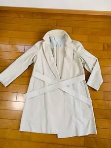 Drawer ドゥロワー シルク100%生地 スプリングコート パフショルダー 薄手 ベージュ 送料込み