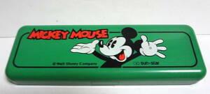 80s-90s Vintage Walt Disney Micky Mouse ディズニー ミッキーマウス ペンケース 筆箱 文房具 昭和レトロ アンティーク Sun Star