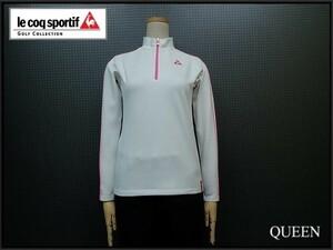 le coq sportif golf collection ハーフジップカットソー△ルコックゴルフコレクション/レディース ゴルフ/ハイネックシャツ/白 ピンク¨
