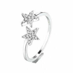 新品未使用 最高純度 2連星CZダイヤモンドリング 絢爛 厳選 憧れの最上級 超美品 オススメ 大人可愛い 限定販売 レディース プラチナ仕上