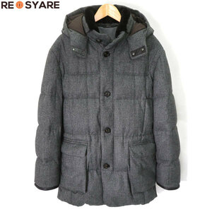 送料無料 美品 ブリオーニ カシミヤブレンドウール 襟 ヌートリアファー フード ジップアップ ダウン コート ジャケット ブルゾン 40886