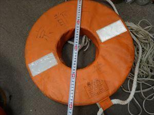 小型船舶用救命浮環 船検法定備品救命器具 P-160型 ひも付き うきわ アルミボート バスボート・小型ボート 中古Fーー