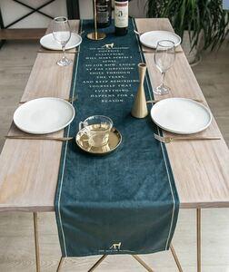 テーブルランナー 英文メッセージ チーターのワンポイント付き スタイリッシュ (モスグリーン)
