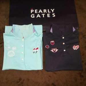 中古 正規品 マスターバニー パーリーゲイツ サイズ2 高品質エアロタッシェ素材 高機能 ポロシャツ 2枚セット 送料無料