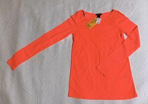 新品 H&M 丸首 長袖Tシャツ XSサイズ タグ付き 未使用 蛍光オレンジ コットン100 トップス カットソー