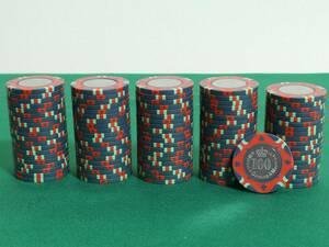 送料込み 【$100】100枚 中古カジノチップ CC.220-E コイン CASINO トランプ ポーカー メダル ルーレット バカラ ブラックジャック 200503