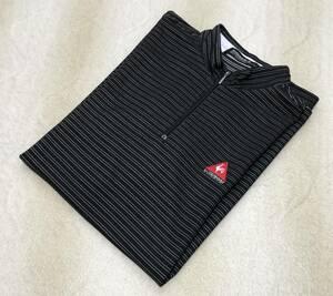 【送料無料】☆ルコック ゴルフ☆半袖 ハーフジップ シャツ L 黒系 ボーダー ポロシャツ QG2520