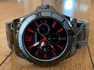 腕時計 ブラックメタル レッド メンズ 新品 ウォッチy3395マットベゼル