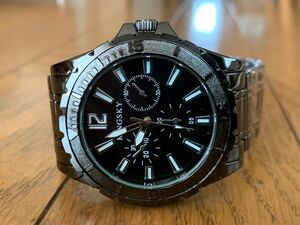 腕時計 ブラックメタル ホワイト メンズ 新品 ウォッチy3395マットベゼル