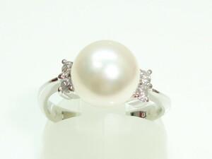 ◆◆プラチナ真珠、ダイヤリング 8,5ミリ【新品】創業54周年!◆超キュート♪税込み超特価!送料サービス♪♪