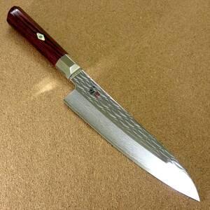 関の刃物 牛刀 18cm (180mm) 三昧 波目 ダマスカス33層 VG-10 ステンレス 赤合板 精肉の仕分け 魚の処理 野菜切りなど 両刃万能包丁 日本製