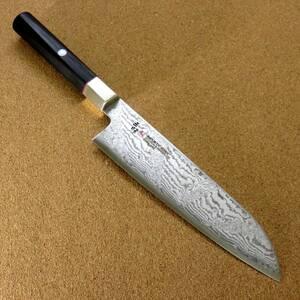 関の刃物 三徳包丁 18cm (180mm) 三昧 ハイブリッド スプラッシュ ダマスカス33層 VG-10 ステンレス 黒合板 両刃万能包丁 文化包丁 日本製