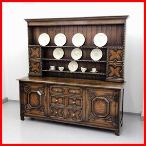 イギリス アンティーク 家具 ドレッサー カップボード 1920年頃 オーク 無垢材 英国 ビンテージ家具 サイドボード 店舗什器 食器棚 262A