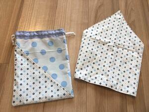 ●ハンドメイド●マリン*イカリ 三角巾*巾着袋