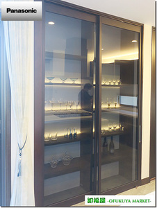 22124■Panasonic 室内用 ガラススライドドア 2枚組 吊り型 上部レール付 W800×H2550■展示品/取り外し品
