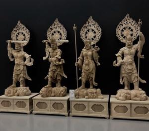 珍品 超大型 高110cm 楠材 井波彫刻 仏教工芸品 精密彫刻 木彫仏像 仏師手彫り品 四天王像一式