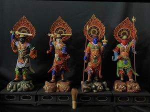 珍品 井波彫刻 最高級 大型高58cm 仏教工芸品 木彫仏像  彩金 彩繪 金箔 仏師手工精彫り 木彫仏像 極上品 四天王像一式