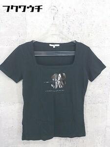 ◇ ●美品● 23区 オンワード樫山 タグ付 スクエアネック 半袖 Tシャツ カットソー 38サイズ ブラック レディース