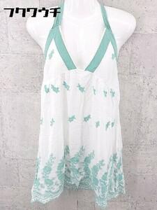 ◇ BEAMS BOY ビームスボーイ 刺繍 ホルターネック キャミソール ホワイト グリーン レディース