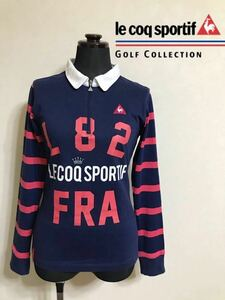 le coq sportif GOLF ルコック ゴルフ レディース ハーフジップ シャツ プルオーバ トップス サイズM 長袖 ネイビー デサント QGL1324