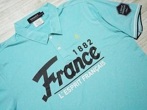 即決 ルコック ゴルフコレクション le coq sportif ポロシャツ 半袖 LL 水色 ライトブルー プリント 速乾性ドライ 刺繍 ロゴ入り メンズ