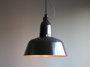 casting aluminium EOW pendant lighting φ38cm ( weight :2.5kg) / old East Germany industry series in dust real Vintage lamp