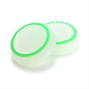 2個セット PS4等 コントローラー キャップ ジョイスティック カバー 白緑