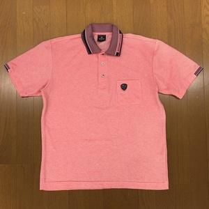DUNLOP ダンロップ ロゴモチーフ ドライゴルフシャツ L サーモンピンク 半袖 吸水速乾 鹿の子 カノコ ポロシャツ メンズ 日本製 国内正規品
