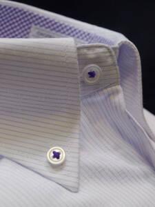 ◇処分M-39-82白*紫ストライプ/ボタンダウン/レギュラー形態安定/長袖ビジネスワイシャツ/新品即決