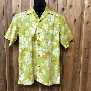 【no boundaries】メンズ size S 半袖シャツ アロハシャツ ハワイアン ストライプ 総柄 ハイビスカス柄 開襟 オープンカラーシャツ USA古着