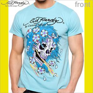 Ed Hardy エドハーディー メンズ ビューティフルゴースト ベーシック 半袖 Tシャツ アクア