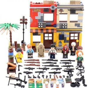 ★最安 安心の国内対応★MOC LEGO レゴ 互換 PUBG プレイヤーアンノウンズ バトルグラウンズ 建物 ミニフィグ 6体セット大量武器装備付き