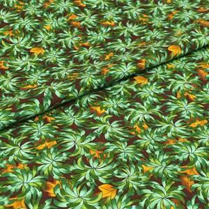 USAコットン トロピカルプランツ柄 カットクロス 110cm幅×50cm グリーン P&B Textaile社