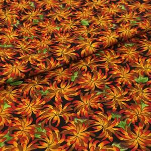 USAコットン トロピカルプランツ柄 カットクロス 110cm幅×50cm オレンジ P&B Textaile社