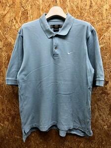 NIKE GOLF ナイキゴルフ Sサイズ メンズ ポロシャツ 鹿の子 ロングテール ロゴ刺繍 カットソー 裾スリット 半袖 綿100% ブルー 水色