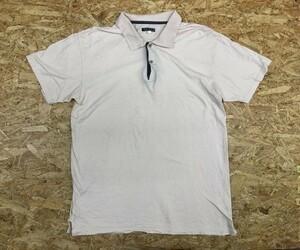 NICOLE ニコル Mサイズ メンズ ポロシャツ 半袖 無地 カットソー 裾にスリット 2つボタン 無地 綿100% ライトピンク