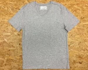 ESSENTIALS ZARA ザラ Lサイズ メンズ 薄手 Tシャツ 『RELAXED FIT』 半袖 Vネック 無地 カットソー ボックスカット ヘザーグレー 杢灰色